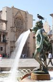 Turia Fountain in the Plaza de la Virgen Valencia, Spain.