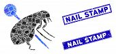 Mosaic Pinned Flea Icon And Rectangular Nail Stamp Seal Stamps. Flat Vector Pinned Flea Mosaic Icon  poster