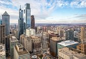 Philadelphia, Pennsylvania. City Rooftop View With Urban Skyscrapers On A Cloudy Day poster