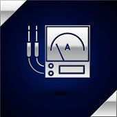 Silver Ampere Meter, Multimeter, Voltmeter Icon Isolated On Dark Blue Background. Instruments For Me poster