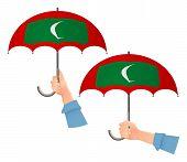 Maldives Flag Umbrella. Social Security Concept. National Flag Of Maldives  Illustration poster