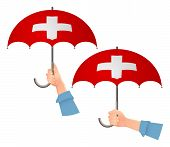 Switzerland Flag Umbrella. Social Security Concept. National Flag Of Switzerland  Illustration poster