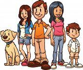 Familia de dibujos animados lindo. Ilustración de vector con gradientes simples. Cada uno en una capa independiente para la disfunción eréctil fácil