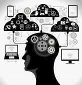 social media, comunicación en las redes informáticas mundiales. silueta de una cabeza humana con un inte