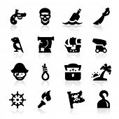 Piratas icons set elegante serie