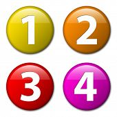 One two three four - vector badges with numbers - progress icons with four steps