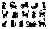 Funny Cat Silhouettes. Black Cats Play And Hunt, Lie And Jump. Vector Funny Meowing Kittens Silhouet poster
