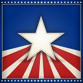 Center star on blue background with red and beige stripes with outer frame of 50 little stars on blu