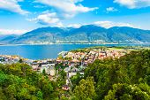 Locarno Aerial Panoramic View. Locarno Is A Town Located On The Shore Of Lake Maggiore In The Ticino poster