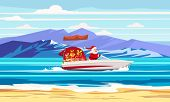 Merry Christmas Santa Claus On Speed Boat On Ocean Sea Tropical Island Mountains Seaside. Vector Ill poster