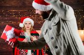 Guess Her Desire. Winter Surprise. Man Giving Gift Box. Christmas Surprise Concept. Giving And Shari poster