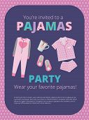 Pajama Party Poster. Invitation For Night Party Kids And Parents Nightwear Casual Clothes Great Bed  poster