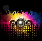 Party night background with dancing people silthoette and speakers, can be use as flyer, banner or p
