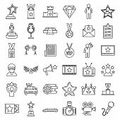 Celebrity Famous Icons Set. Outline Set Of Celebrity Famous Vector Icons For Web Design Isolated On  poster
