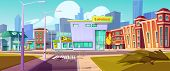 Urban Landscape With Shopping Mall, Residential Buildings And Fenced Open Street Manhole, Cartoon Ve poster