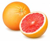 Isolated Grapefruits. Whole Grapefruit And Slice Of Fresh Grapefruit Isolated On White Background Wi poster