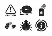 Caution Attention Symbol. Chat, Info Sign. Bug Disinfection Icons. Insect Fumigation Spray Sign. Cla poster