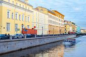 Downtown Cityscape, Griboedova Street With Bridge Over Canal In Sunset Light, Sightseeing Tourists O poster