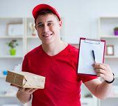 Post man delivering a parcel package poster