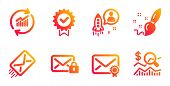 Secure Mail, Verified Mail And Paint Brush Line Icons Set. Update Data, Startup And E-mail Signs. Ce poster