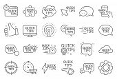 Quick Tips Line Icons. Set Of Helpful Tricks, Solution And Quickstart Guide Linear Icons. Tutorial,  poster