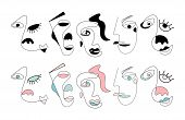 Set Of Ten Abstract Face One Line Drawing. Portrait Minimalistic Style. Fine One Line Drawing Abstra poster