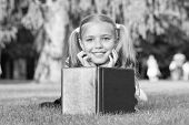 Mix Of Fantasy And Reality. Happy Girl Read Fantasy Book On Green Grass. Little Child Enjoy Fantasy  poster