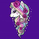 Beautiful Unicorn With A Long Mane And Roses. Fantasy Animal. Vector poster