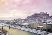 Winter sunrise in Salzburg. View from Kapuzinerberg
