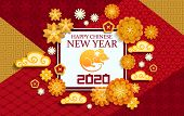 Chinese New Year Papercut Greeting Card Of Lunar Zodiac Rat Or Mouse Animal Horoscope Symbol With Pl poster