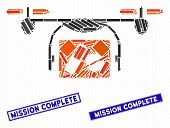 Mosaic Medical Quadcopter Icon And Rectangle Mission Complete Seals. Flat Vector Medical Quadcopter  poster