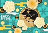 Chinese Animal Zodiac Rat With Papercut Flowers, Lunar New Year Vector Design. Horoscope Mouse Black poster