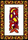 Celtic ornamental frame with horses