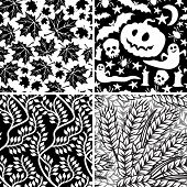 Set of black-and-white seamless floral and Halloween ornaments