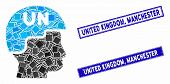 Mosaic United Nations Soldier Helmet Icon And Rectangle United Kingdom, Manchester Seals. Flat Vecto poster