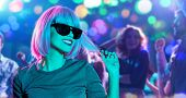 nightlife and entertainment concept - happy young woman wearing pink wig and black sunglasses in neo poster