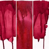 Set of red watercolor abstract hand painted background