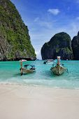 Long tail boats in Maya Bay, Koh Phi Phi Ley, Thailand. The place where the movie the Beach was filmed.