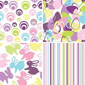 Easter set with seamless backgrounds