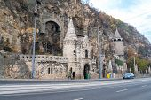 View Of The Beautiful Old Stone Church At Gellert Hill Cave In Budapest, Hungary. poster