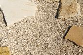Small Gravel And Sand Wall, Grunge Texture Background, Pebble Stone Floor Tile Seamless Background,  poster