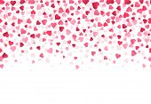 Love Heart Confetti. Wedding Anniversary And Valentines Day Greeting Card Design Pattern, Falling Lo poster