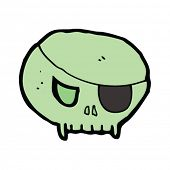 spooky cartoon skull with eye patch