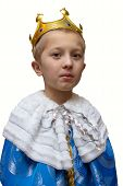 Boy In King Costume, Portrait Of Boy In King Costume Isolated On White Background, Christmas King poster