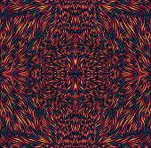 Vibrant Colorful Psychedelic Trippy Mandala, Bright Gradient Outline, Isolated Black Background. poster