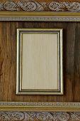 vintage frame on wooden wall interior element