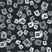 Grey Wav File Document. Download Wav Button Icon Isolated Seamless Pattern On Black Background. Wav  poster