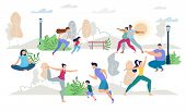 Healthy Lifestyle People Characters Vector Scene Flat Set. Man Woman, Children, Young Family, Pregna poster