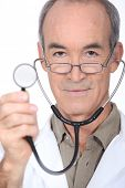 Closeup of a doctor with a stethoscope
