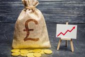 Pound Sterling Gbp Symbol Money Bag And Red Trend Arrow Up Chart. Deposit And Savings. Increasing Pr poster